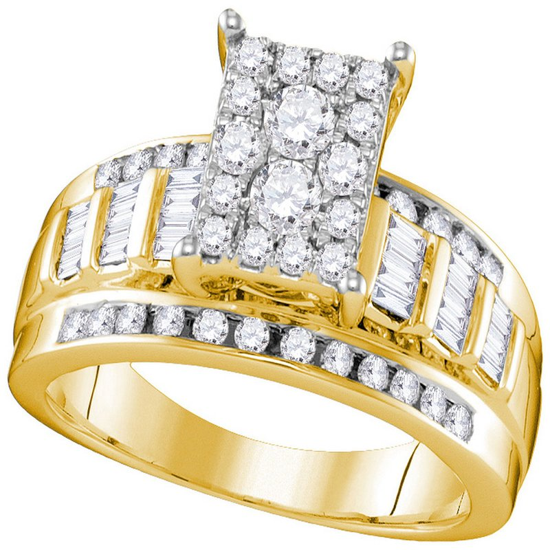 Kingdom Treasures 10kt Yellow Gold Womens Round Diamond Rectangle Cluster Bridal Wedding Engagement Ring 7/8 Cttw - Size 8