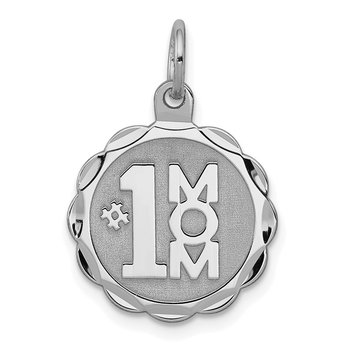 Sterling Silver Rhodium-plated #1 Mom Disc Charm
