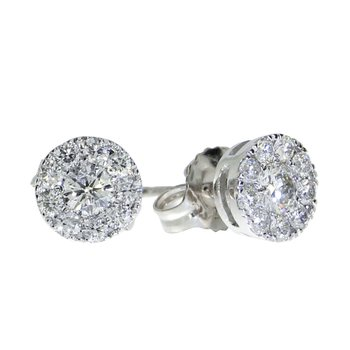 14K White Gold .51 ct Diamond Cluster Stud Earrings