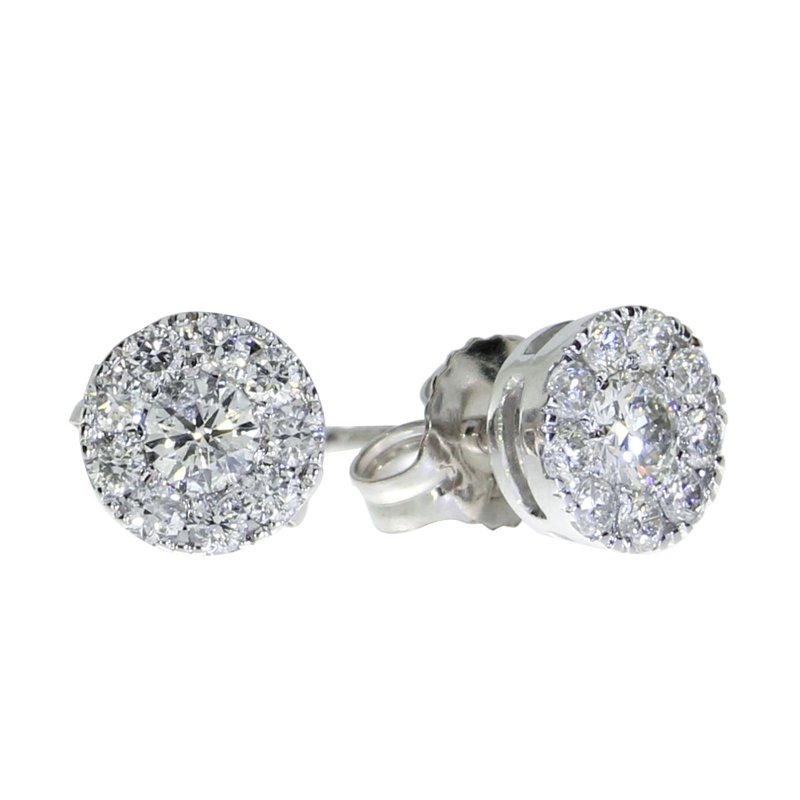 Color Merchants 14K White Gold .51 ct Diamond Cluster Stud Earrings