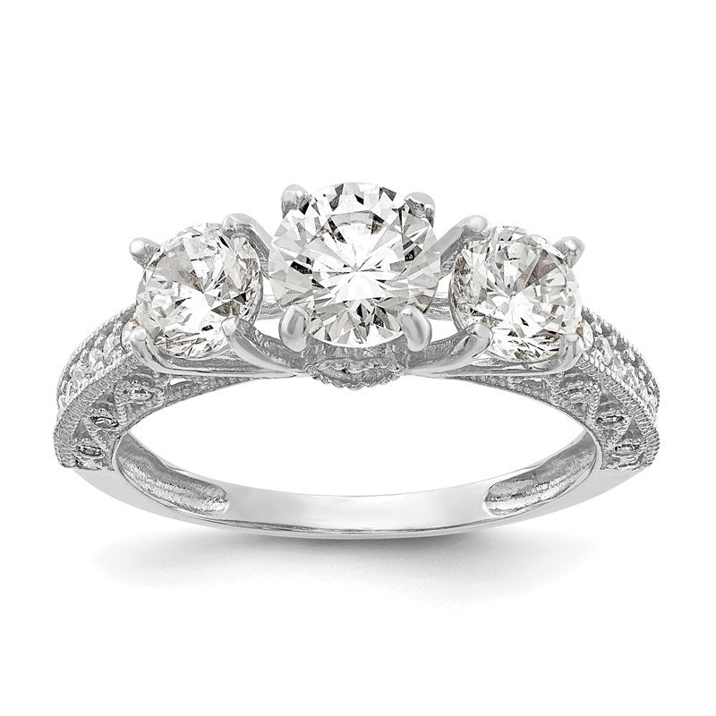 Quality Gold 10K Tiara Collection White Gold Polished CZ Ring