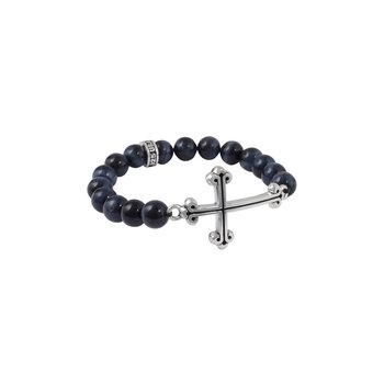 10Mm Black Onyx Bead Bracelet W/ Large Curved Trad. Cross