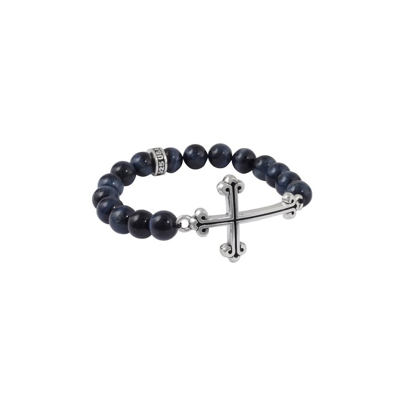King Baby 10Mm Black Onyx Bead Bracelet W/ Large Curved Trad. Cross