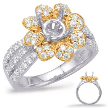 Yellow & White Gold Halo Engagement Rin