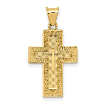 14k Textured Reversible Lord's Prayer in Spanish Cross Pendant