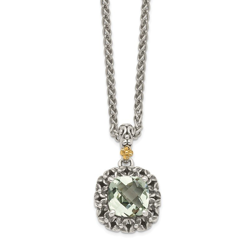 Shey Couture Sterling Silver w/ 14k Polished Green Quartz Pendant