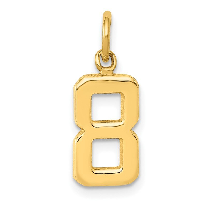 Quality Gold 14ky Casted Small Polished Number 8 Charm
