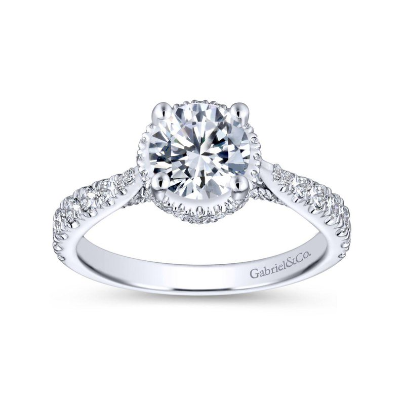 Gabriel Bridal 14K White Gold Hidden Halo Round Diamond Engagement Ring