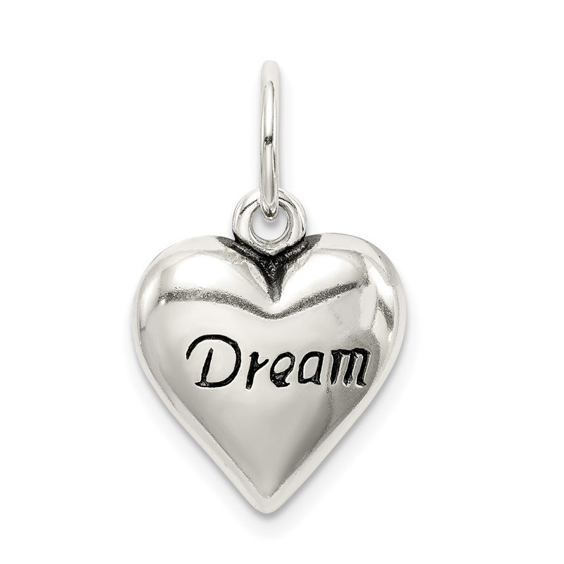 Quality Gold Sterling Silver Antiqued Dream Heart Pendant
