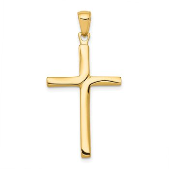 14K Satin Finish Accent Stick Cross Pendant
