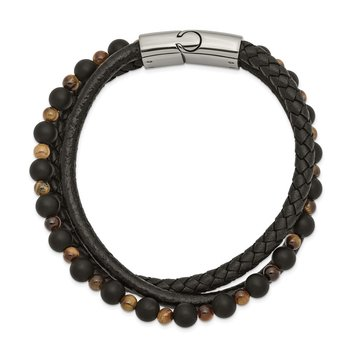 Stainless Steel Polished w/Tiger's Eye/Black Agate Leather 8.25in Bracelet