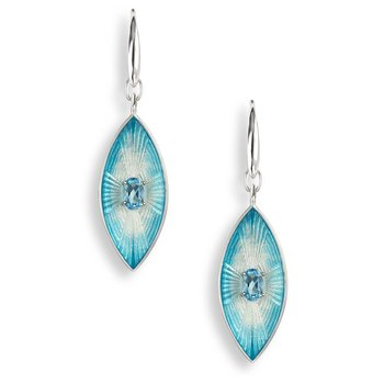 Blue Marquise Wire Earrings.Sterling Silver-Blue Topaz