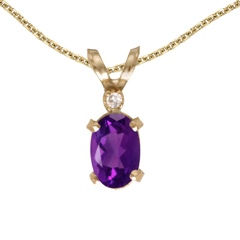 Color Merchants 14k Yellow Gold Oval Amethyst And Diamond Filagree Pendant