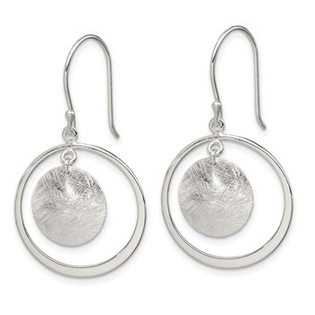Sterling Silver Polish./Text. Circles Dangle Shepherd Hook Earrings
