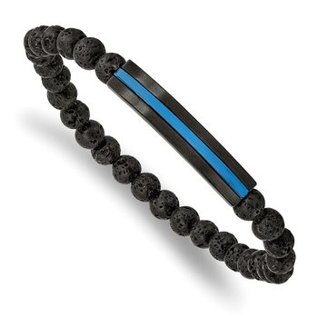 Stainless Steel Brushed & Polished Black/Blue IP w/Lava Stone Stretch Brace