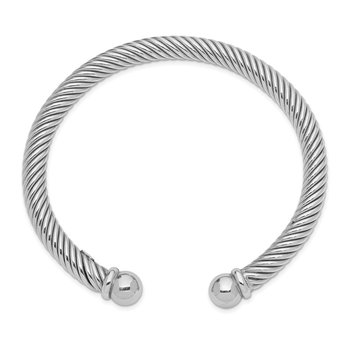 Sterling Silver Rhodium Plated Cuff Bangle