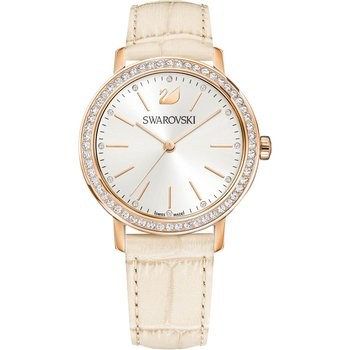Graceful Lady Watch, Leather strap, Beige, Rose gold tone
