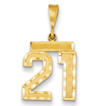 14k Medium Diamond-cut Number 21 Charm