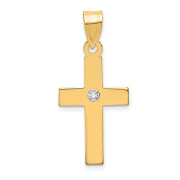14k Polished .02ct. Diamond Cross Pendant