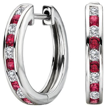Ladies Fashion Diamond and Ruby Hoop Earrings