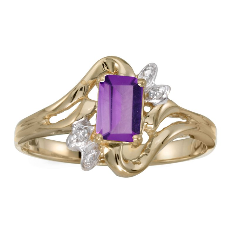 Color Merchants 14k Yellow Gold Emerald-cut Amethyst And Diamond Ring