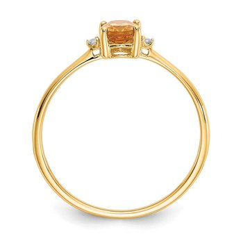 14k Diamond & Citrine Birthstone Ring