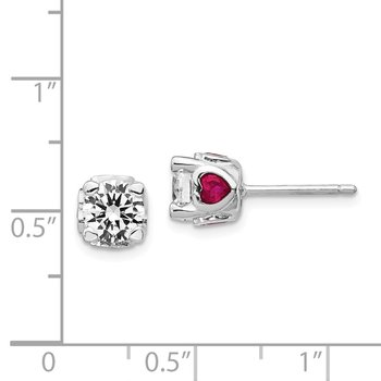 Cheryl M SS Rhodium Plated CZ w/ Created Ruby Hearts Post Earrings