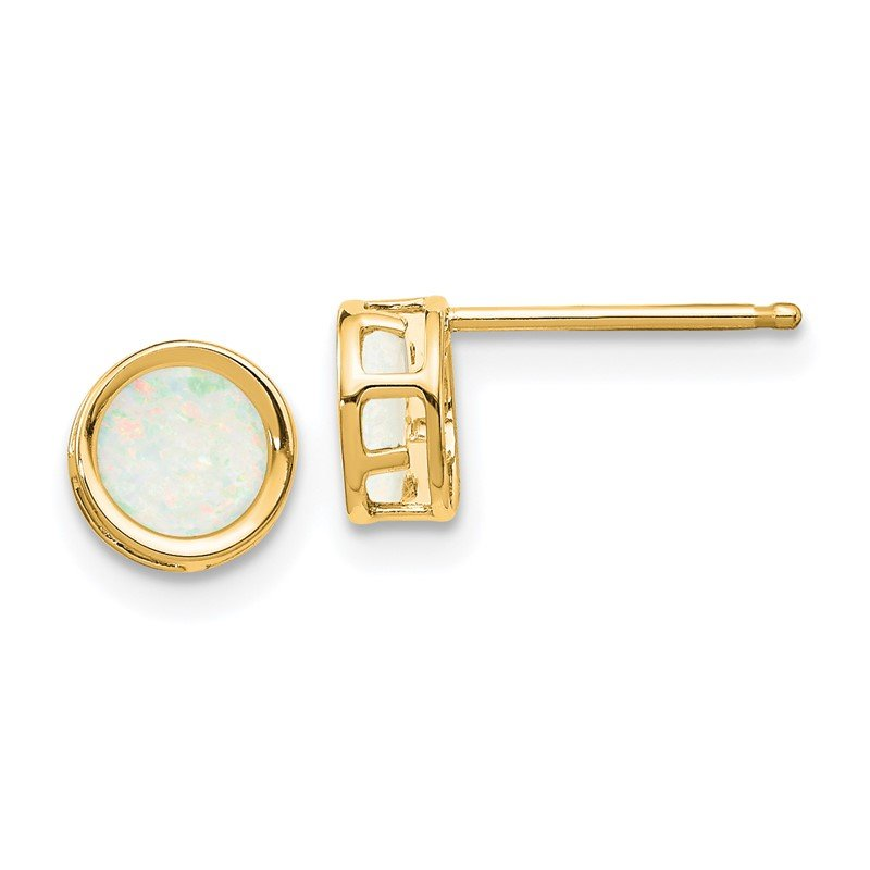 Quality Gold 14k 5mm Bezel Opal Stud Earrings