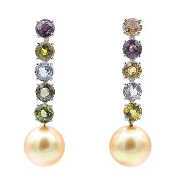 Platinum Sapphire & Pearl Earrings