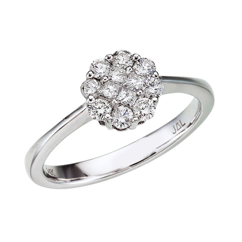 Color Merchants 14K White Gold Diamond Clustaire Ring (.50 carat)