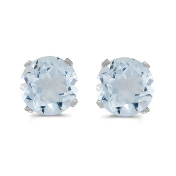 14k White Gold 5 mm Natural Round Aquamarine Stud Earrings