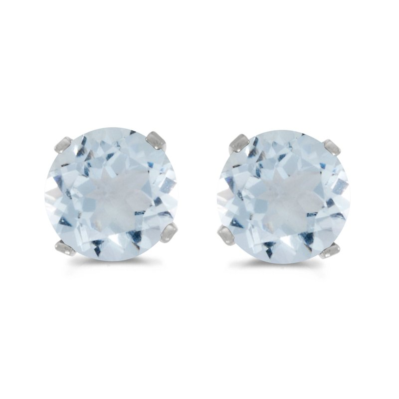 Color Merchants 14k White Gold 5 mm Natural Round Aquamarine Stud Earrings
