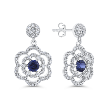 Round Cut Diamond & Sapphire Floral Drop Dangle Earrings