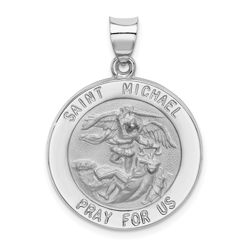 Quality Gold 14k White Gold Polished/Satin St Michael Medal Hollow Pendant