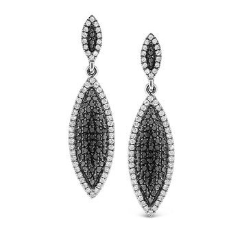 Black And White Diamond Drop Earrings in 14k White Gold with 222 Diamonds weighing 1.36ct tw.