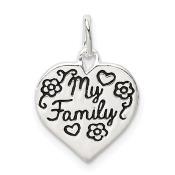Sterling Silver Enamel MY FAMILY Heart Charm