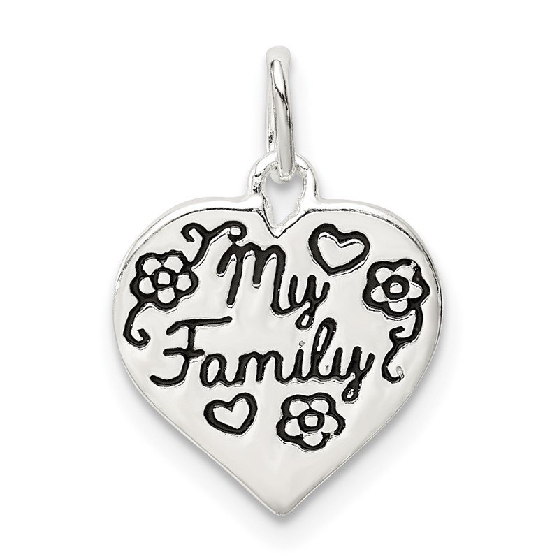 Quality Gold Sterling Silver Enamel MY FAMILY Heart Charm