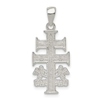 Sterling Silver Polished Caravaca Double Cross w/Angels Crucifix Pendant