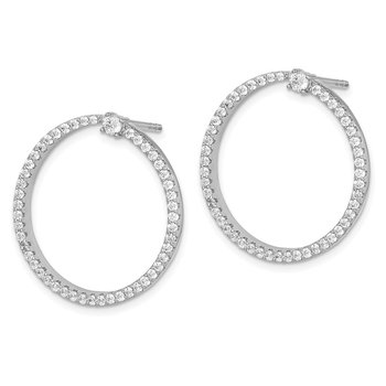 Sterling Silver Rhodium-plated CZ Circle Dangle Post Earrings