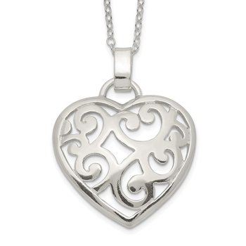 Sterling Silver Filigree Swirl Heart Necklace