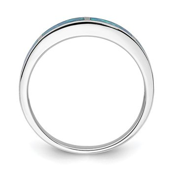 Sterling Silver Rhodium-plated Lab Created Blue Opal Inlay Band