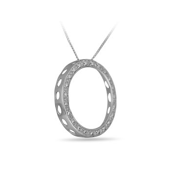 925 SS & Dia Circle Pendant in Channel Prong Setting