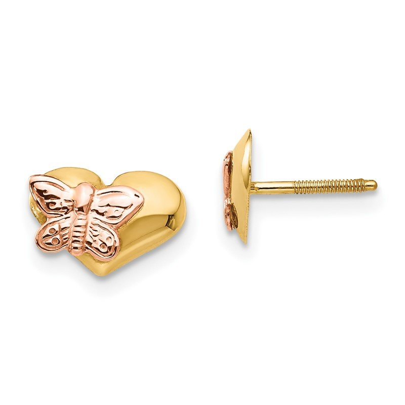 Quality Gold 14k Madi K Polished & Rhodium Butterfly Heart Screwback Earrings