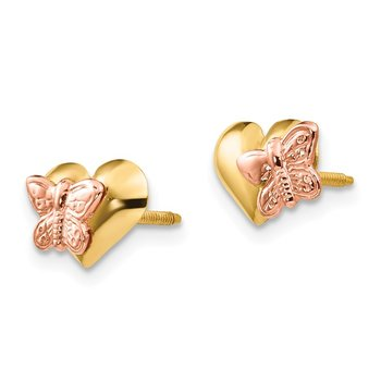 14k Madi K Polished & Rhodium Butterfly Heart Screwback Earrings