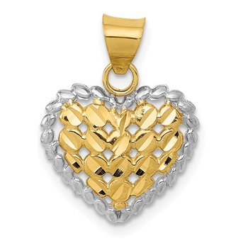 14K and White Rhodium Polished D/C Heart Pendant