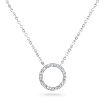 14K OPEN CIRCLE NECKLACE WITH 26 DIAMONDS 0.09CT 18 INCHES