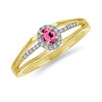 10K YG and diamond and Pink Tourmaline halo style birthstone ring