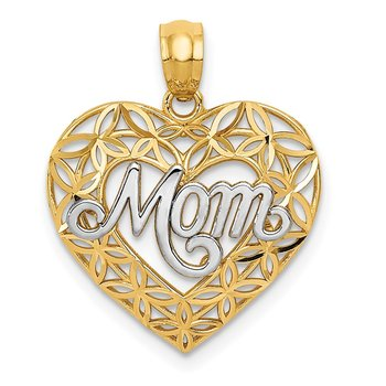 14k w/Rhodium Diamond-cut MOM in Heart Charm