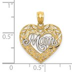 Quality Gold 14k w/Rhodium Diamond-cut MOM in Heart Charm