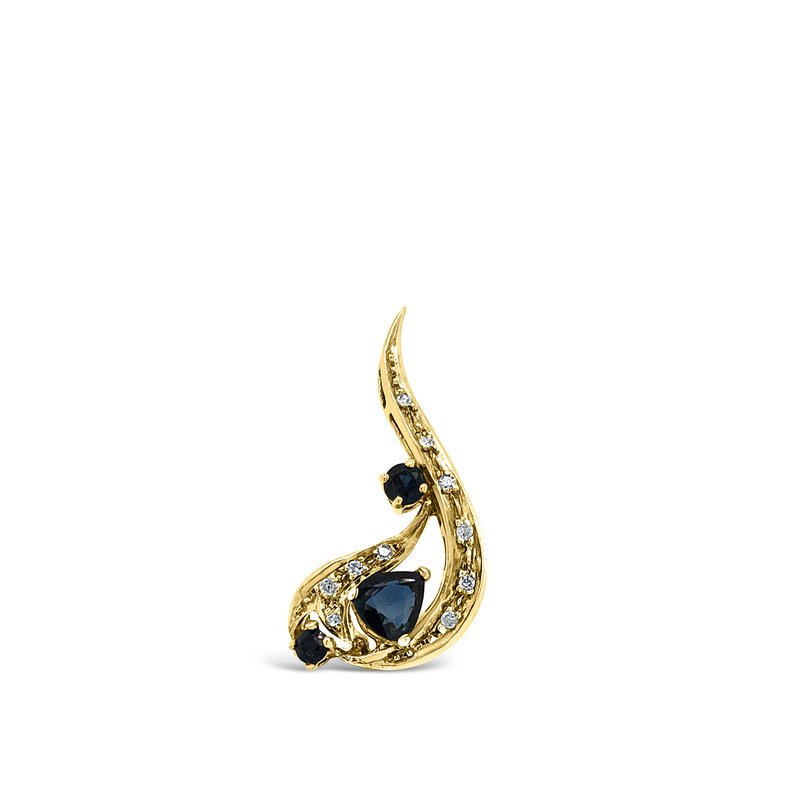 18K Yellow Gold Diamond and Sapphire Pendant
